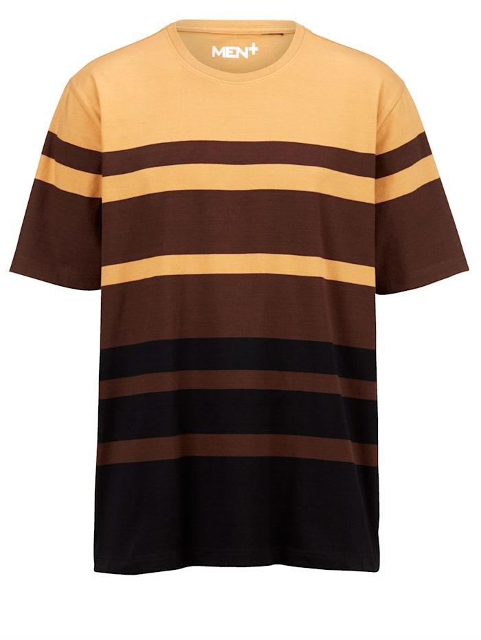 Men Plus T-shirt av bomull, Sand/Mörkbrun