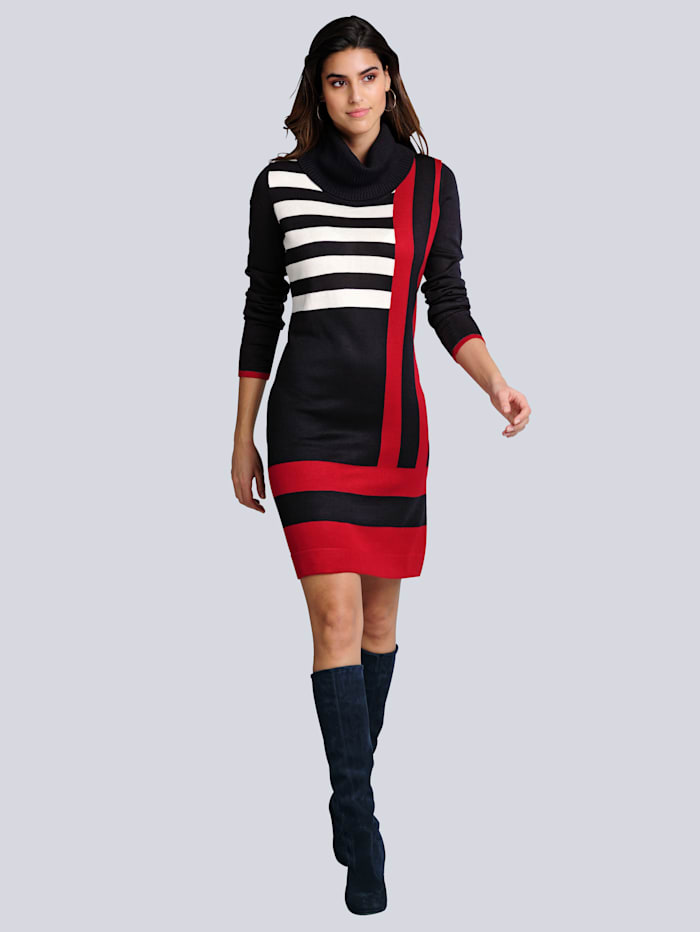 Alba Moda Strickkleid im Colourblocking-Dessin, Marineblau/Rot/Off-white