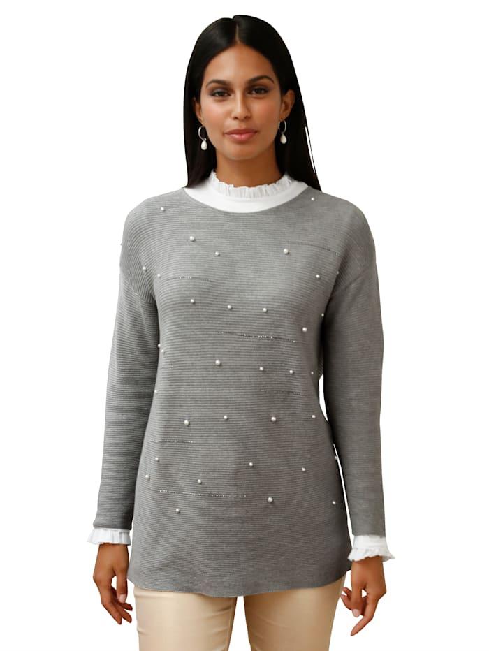 AMY VERMONT Pullover mit Perlen- und Strassteindeko, Grau