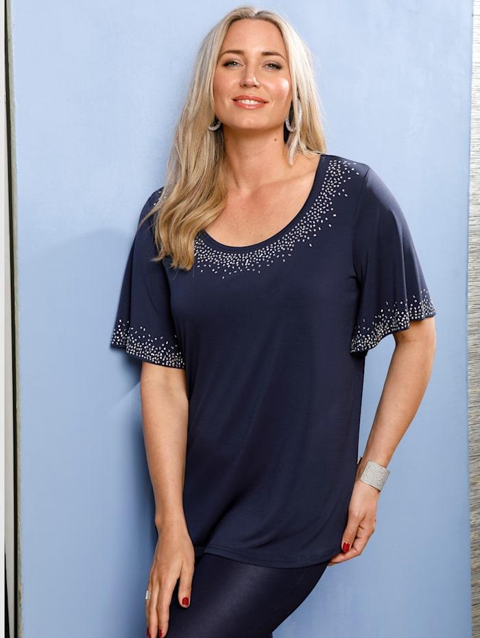 MIAMODA Shirt mit Flügelärmeln, Marineblau