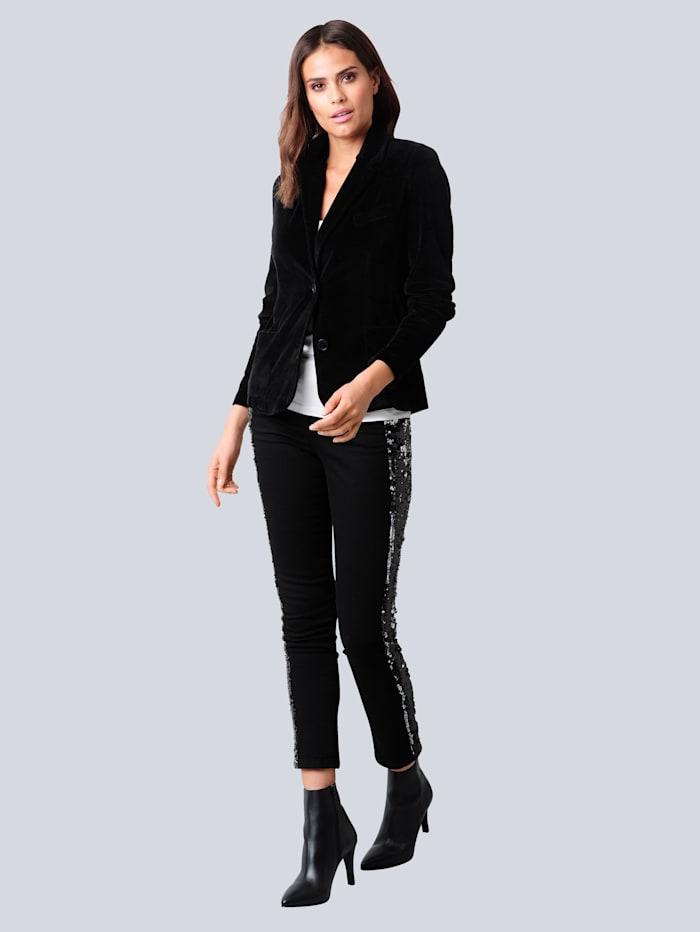 Jeans mit effektvoller Paillettenverarbeitung