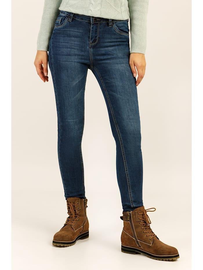 Finn Flare Jeans mit dezenter Used-Waschung, denim
