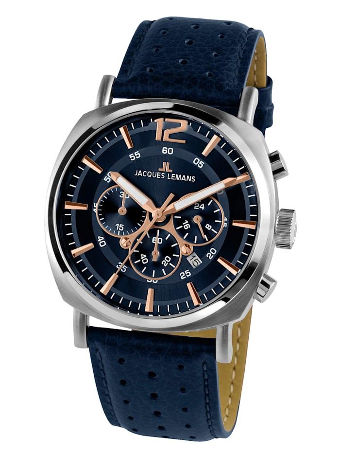 Jacques Lemans Herren-Uhr Chronograph Serie: Lugano, Kollektion: Sport 1-1645.1I, Blau