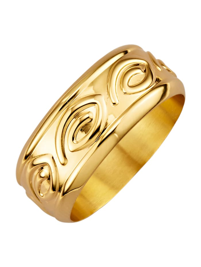 Ring med mönster i relief, Guldfärgad