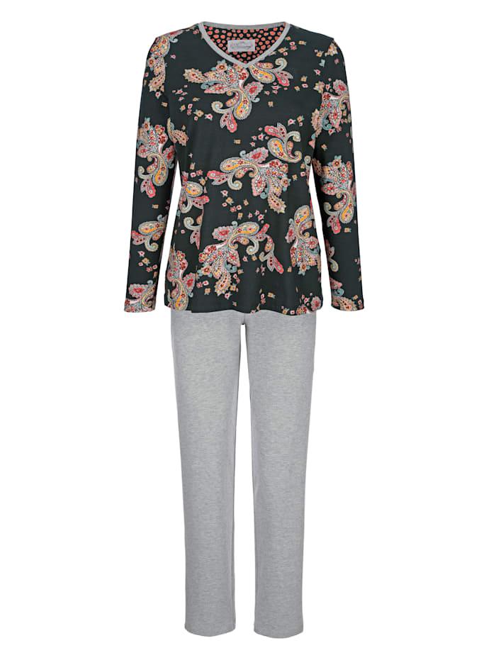 Ringella Bloomy Pyjama met contrastkleurige details aan de V-hals, Zwart/Grijs