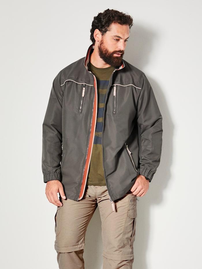 Men Plus Jacke mit Kontrastverarbeitung, Khaki
