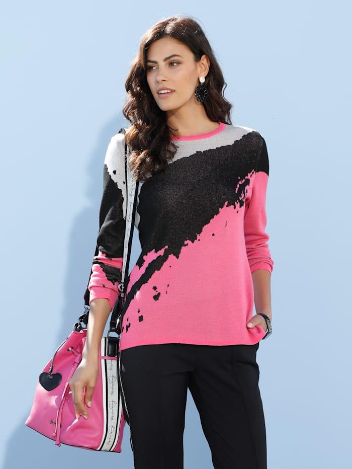 AMY VERMONT Pullover mit Strasssteinen, Schwarz/Weiß/Pink