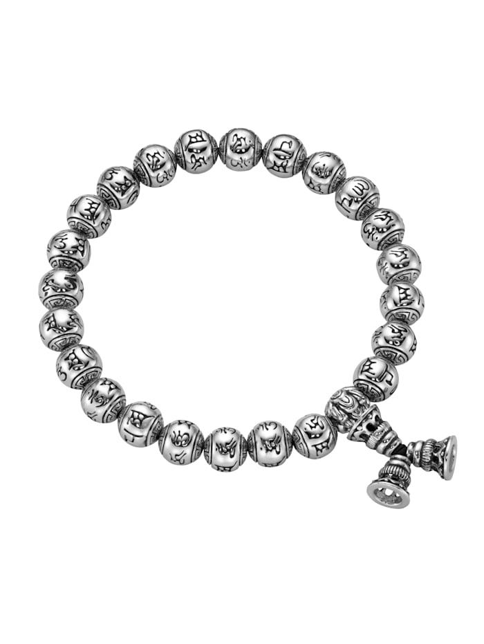 Giorgio Martello Armband Kugeln mit tibetischen Glücks-Symbolen, Silber 925, Silber
