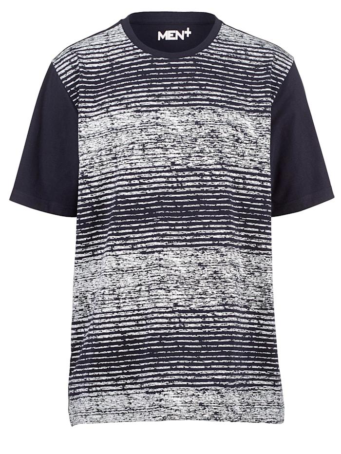 Men Plus T-shirt van sneldrogend materiaal, Marine/Wit