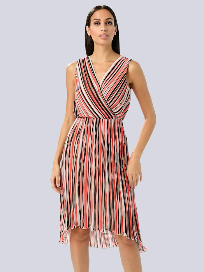 Alba Moda Kleid aus plissierter Ware, Rot/Koralle/Weiß
