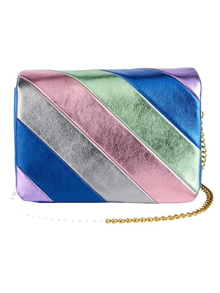 Turned Love Schoudertas met metallic strepen, Royal blue/Multicolor
