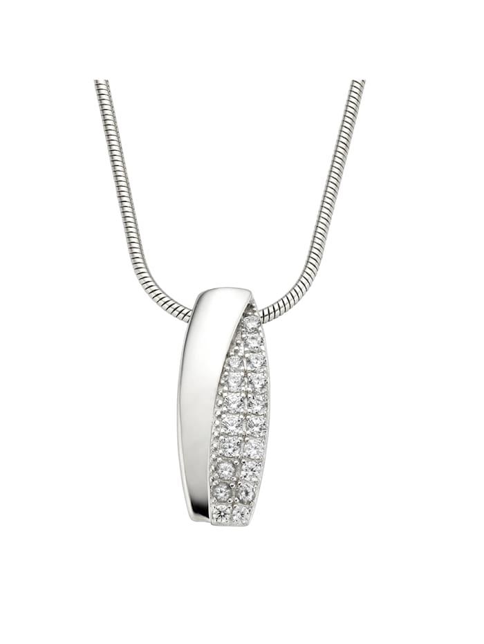 ZEEme Collier 925/- Sterling Silber Zirkonia weiß 42+5cm Rhodiniert, weiß