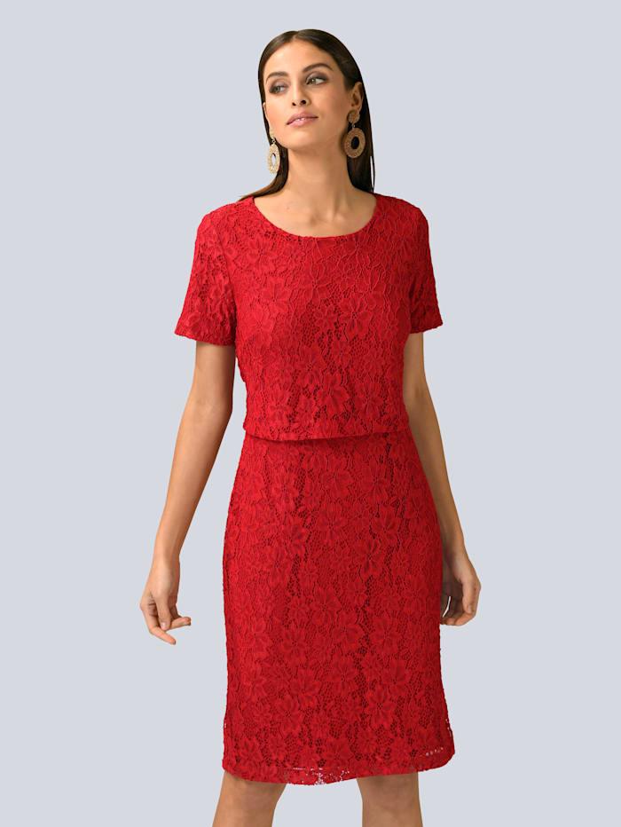 Alba Moda Kleid in wunderschöner Spitze allover, Rot