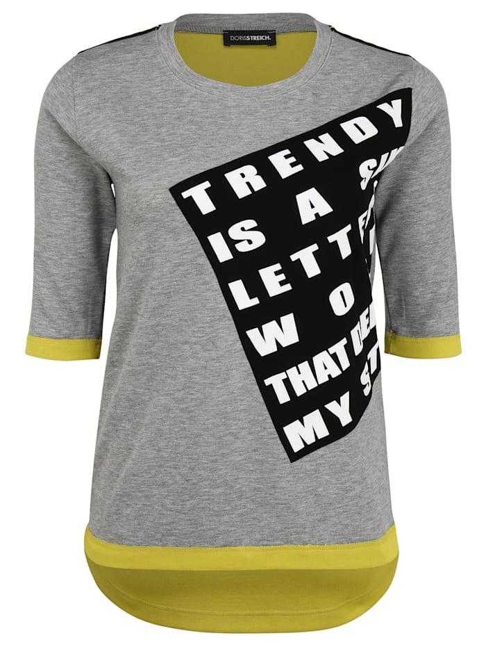 Doris Streich Sweatshirt mit Kontrastverarbeitung, hellgrau