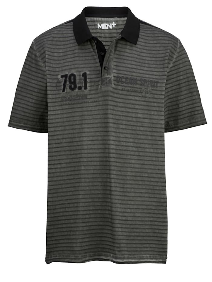 Men Plus Poloshirt aus reiner Baumwolle, Dunkelgrau/Schwarz