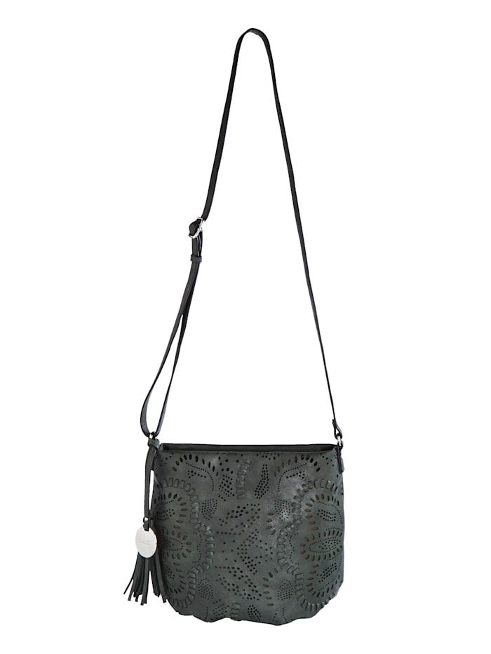 Taschenherz Sac à bandoulière à perforations florales, Vert foncé