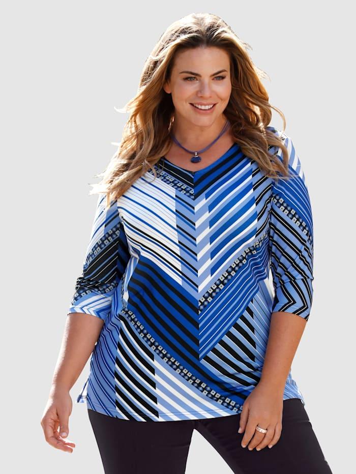 m. collection T-shirt à rayures raffinées, Bleu roi/Noir/Blanc