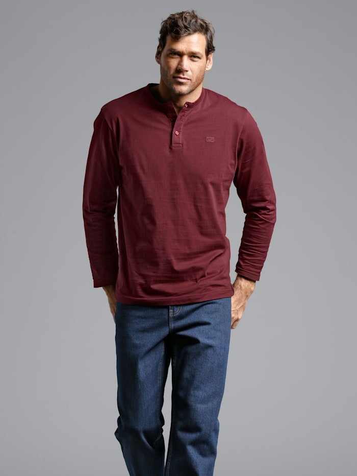 Men Plus Henleyshirt mit Knopfleiste, Rot