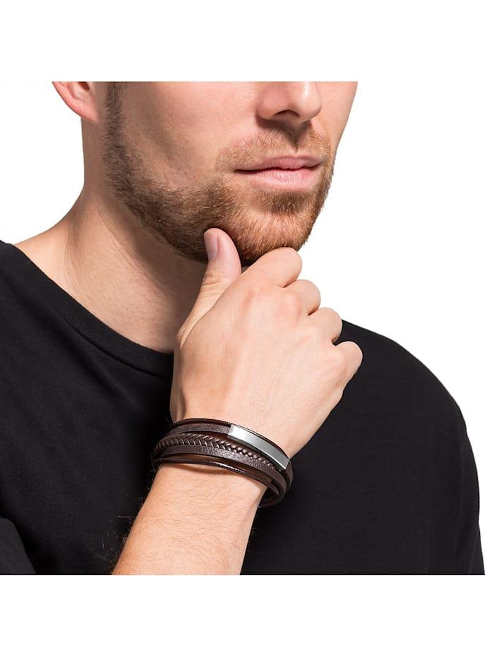 FAVS Herren-Armband Leder, Edelstahl