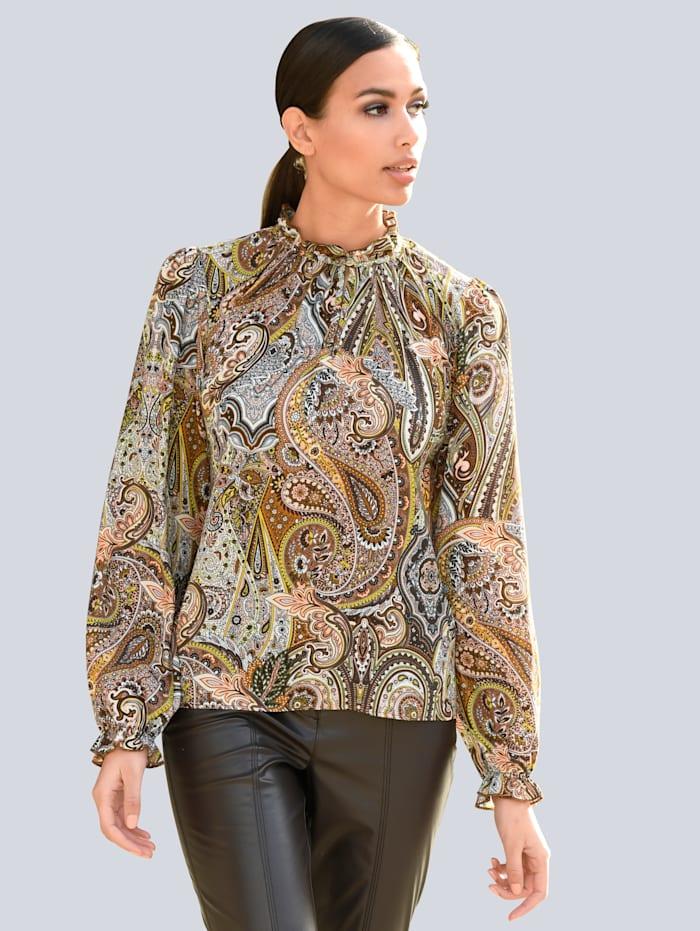 Alba Moda Bluse im Allover Druck, Camel/Beige
