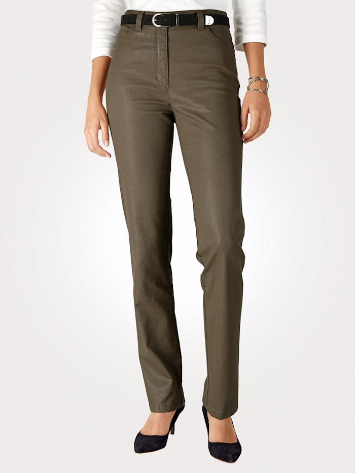 Toni 5-Pocket-Hose in Leder-Optik, Khaki