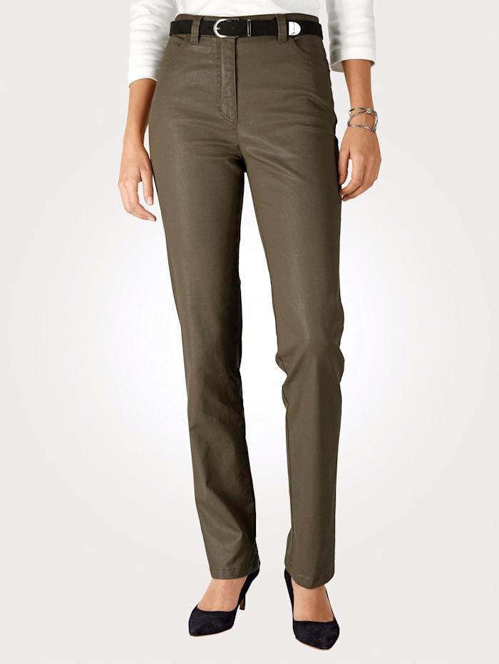 Toni Pantalon 5 poches en cuir synthétique, Kaki