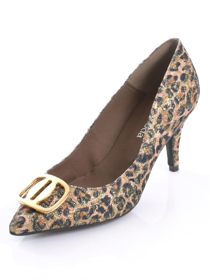 Alba Moda Pumps in femininer Form, Beige/Goldfarben