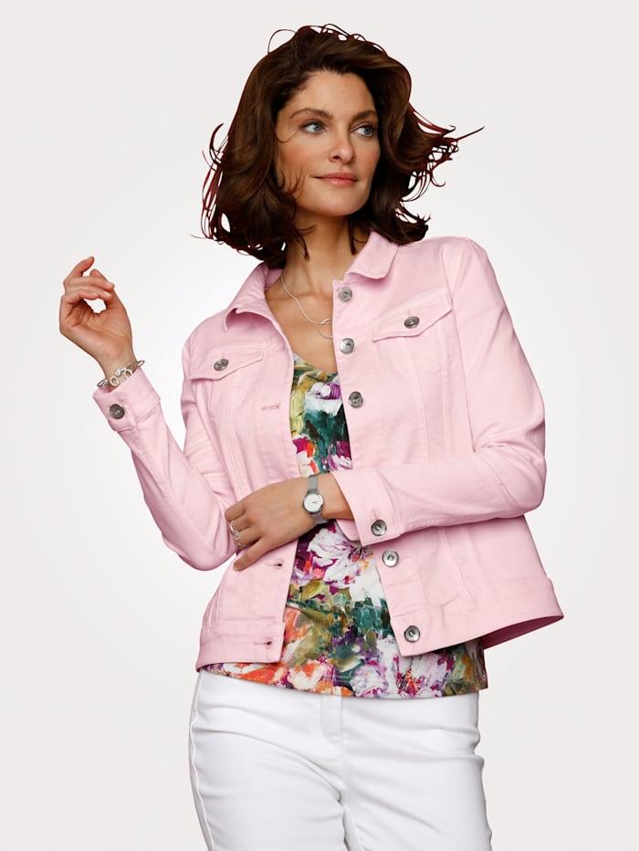 MONA Veste en jean en twill de coton extensible, Rose