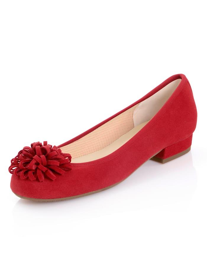 Alba Moda Ballerinasko med blomsterapplikasjon, Rød