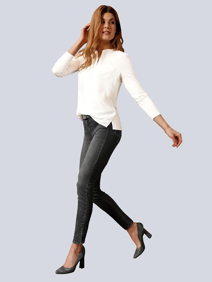 BRAX Jeans 'Shakira' mit Gitter Hotfix am Saum, Grau