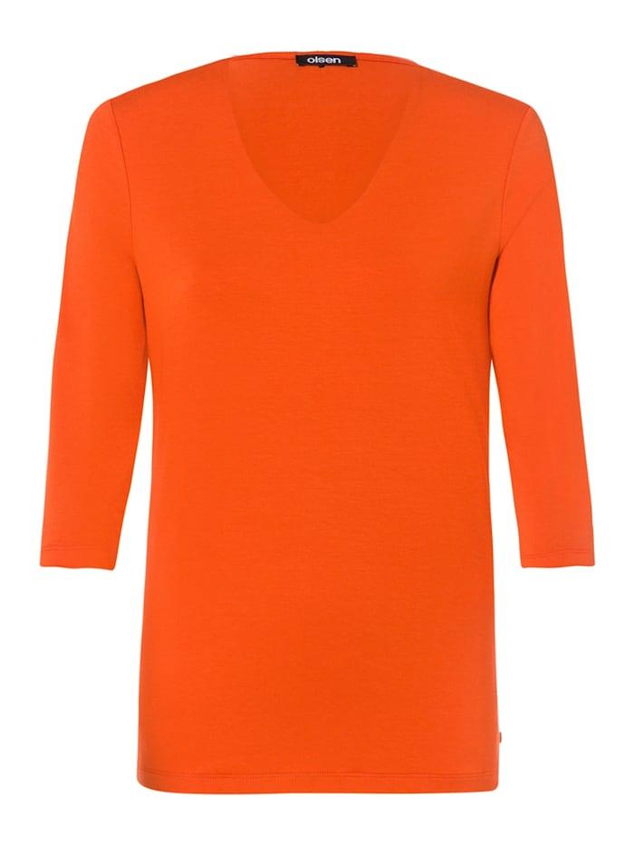 Olsen V-Shirt mit ¾-Ärmeln, Deep Orange
