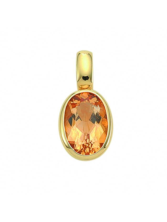 1001 Diamonds Damen Goldschmuck 585 Gold Anhänger mit Citrin, gelb