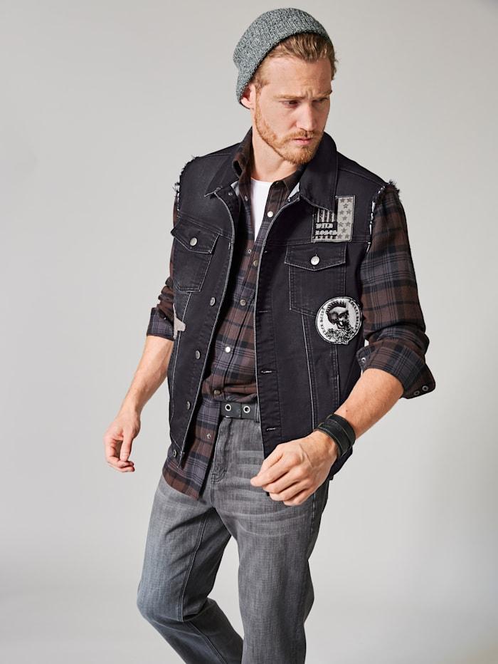 Men Plus Jeans-Jogweste, Black