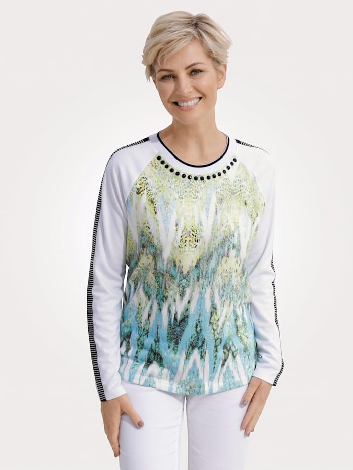 MONA Sweatshirt in modieuze materialenmix, Turquoise/Limoengroen
