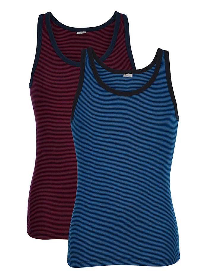 Achselhemden mit garngefärbten Streifen, Marineblau/Bordeaux
