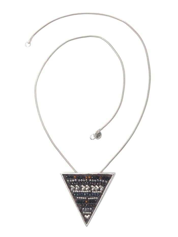 Collezione Alessandro Lange Kette Kim Anhänger mit kleinen Glasperlen und Herzen, silber