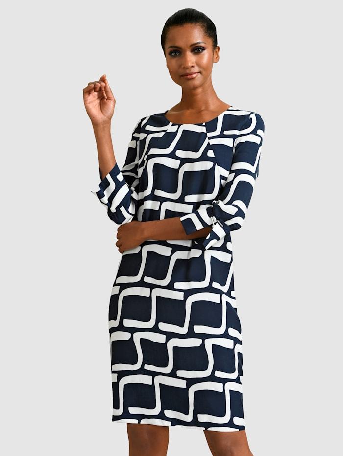 Alba Moda Kjole med grafisk mønster, Marine/Hvit