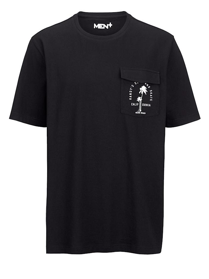 Men Plus T-shirt av 100% bomull, Svart/Vit