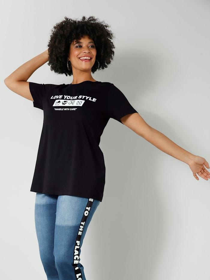 Angel of Style Shirt aus reiner Baumwolle, Schwarz/Weiß