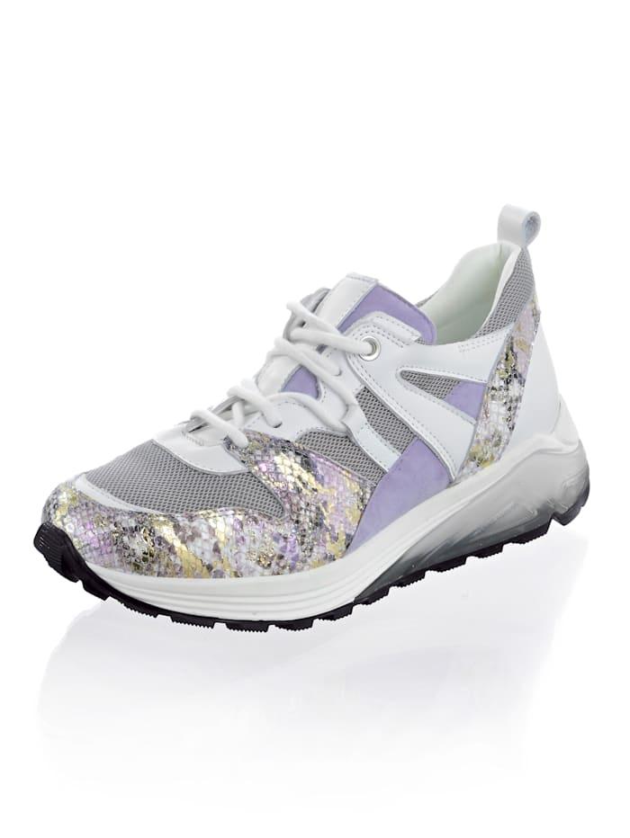 Alba Moda Sneaker in pasteltinten, Lila/Wit