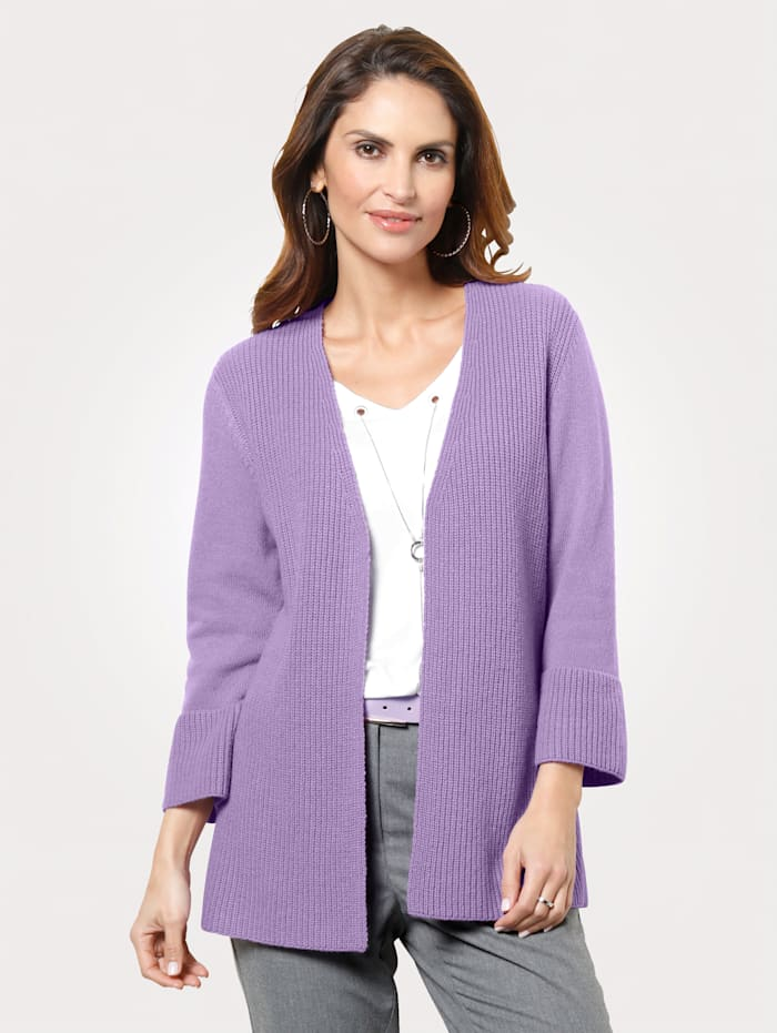 MONA Strickjacke mit Strukturstrick, Lavendel