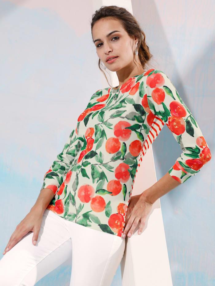 Pullover mit Orangen- und Streifendruck