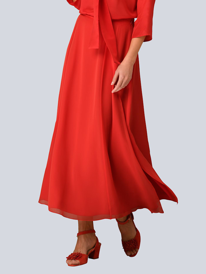 Alba Moda Chiffonrock mit Schlitzen, Rot