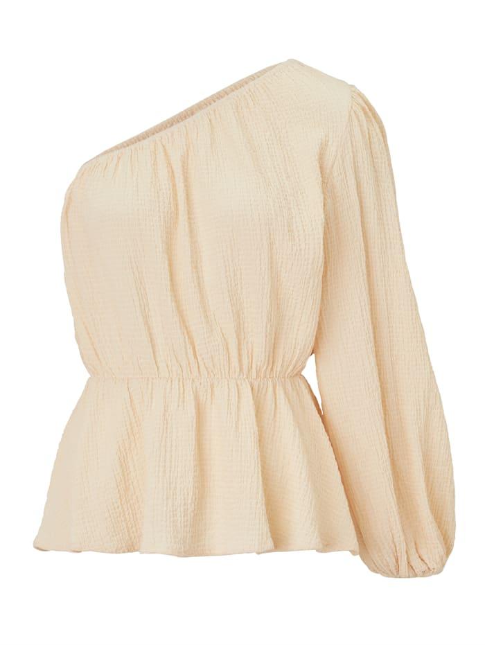 REKEN MAAR One-Shoulder Bluse, Creme-Weiß