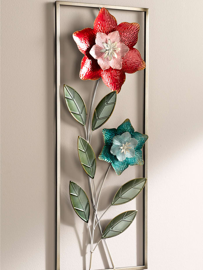 Affiche métallique 'fleur', Multicolore