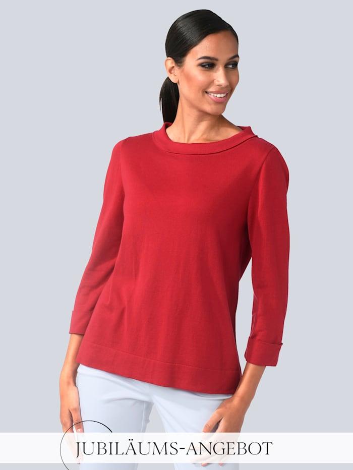 Alba Moda Pullover mit modischem Umlegekragen, Rot