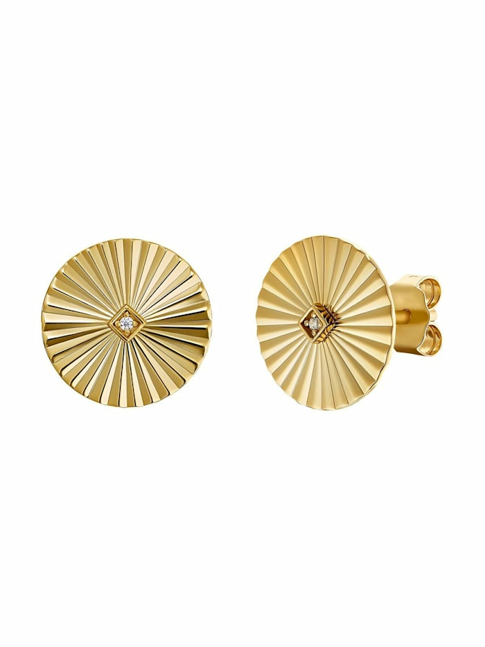 Ohrstecker für Damen, Sterling Silber 925 vergoldet, Sunrays