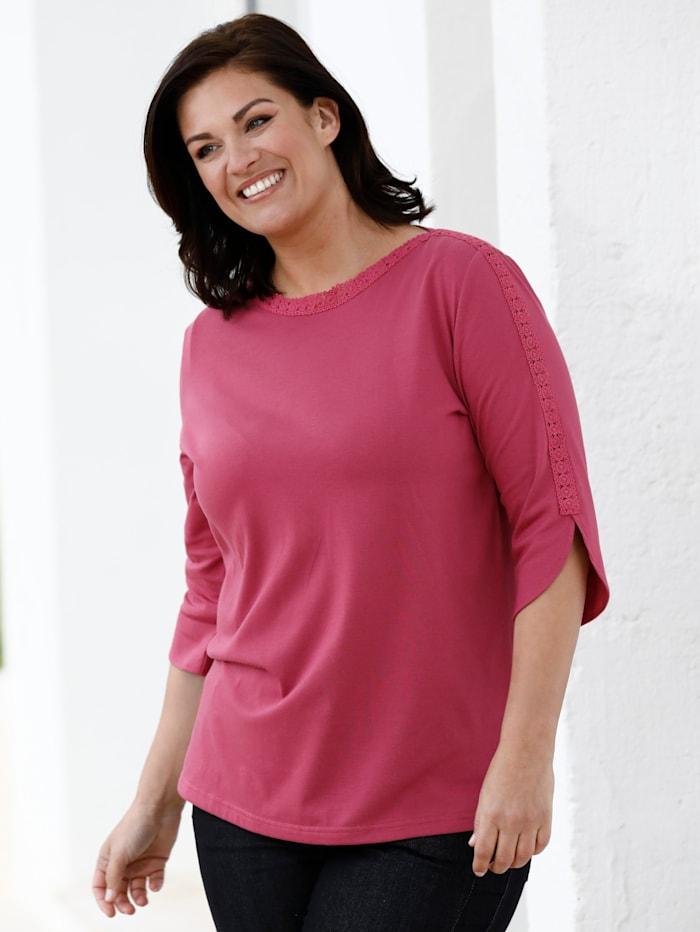 m. collection Tričko s pěkným krajkovým zdobením, Pink
