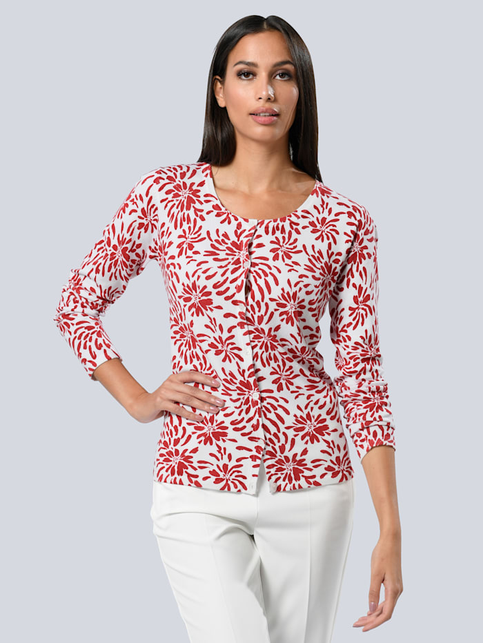 Alba Moda Vest met exclusieve print van ALBA MODA, Offwhite/Rood