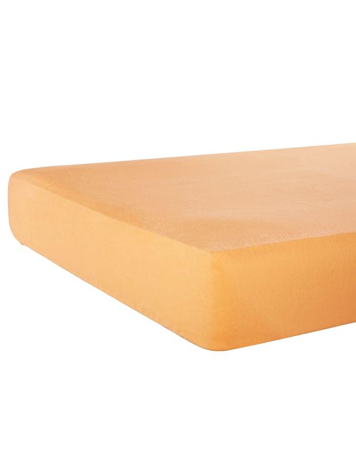 Webschatz Biber Spannbettlaken mit Sanforausrüstung, orange